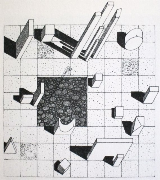 Herbert Bayer, Drawing for a marble garden at the Aspen Institute for Humanistic Studies, 1955